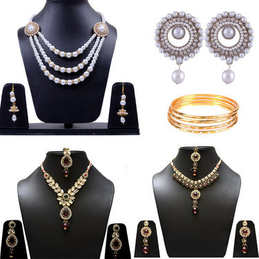 Combo Of Manukunj 3 Necklace Set + 1 Pc Of Earrings + 4 Pc Of Bangles - Kunj-112