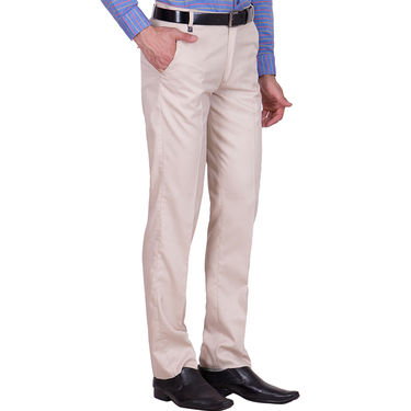 Tiger Grid Cotton Formal Trouser For Men_Md008 - Beige