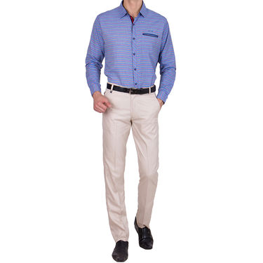 Tiger Grid Pack of 2 Cotton Formal Trouser For Men_Md030