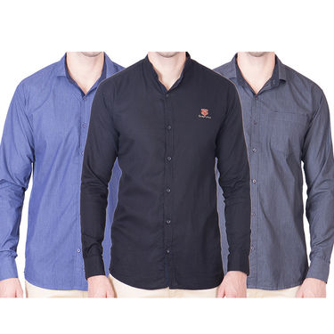 Cliths Pack of 3 Cotton Shirts For Men_Md082