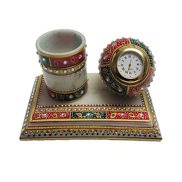 eCraftIndia Meenakari Pen Stand with Clock - Multicolor