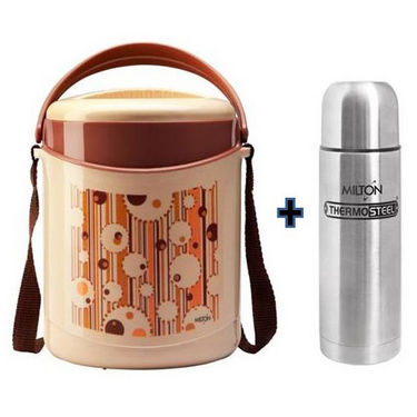 Combo of Milton Econa 3 Container Lunch Box + Thermosteel 500 ML Vaccum Flask