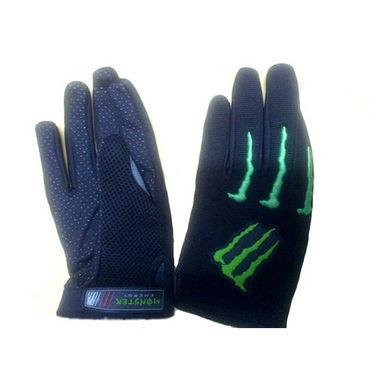 Monster Full Finger Riding Gloves - Black & Green