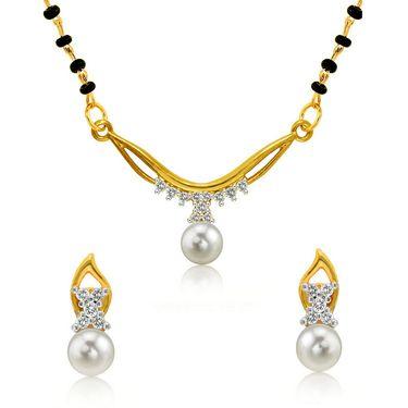 Mahi CZ & Pearl Gold Plated Mangalsutra Set_Nl1102000g