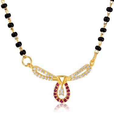 Mahi CZ & Ruby Gold Plated Mangalsutra Set_Nl1103516g