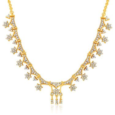 Oviya Gold Plated Rich Intricacy White Crystal Necklace Set_NL2103006G