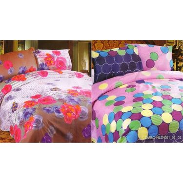 Set of 2 Multicolor Poly Cotton Double Bedsheet with 4 Pillow Covers -NLD-1-01_02