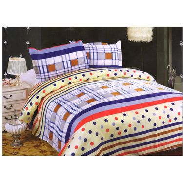Set of 5 Multicolor Poly Cotton Double Bedsheet with 10 Pillow Covers -NLD-13-03_05_07_08_09