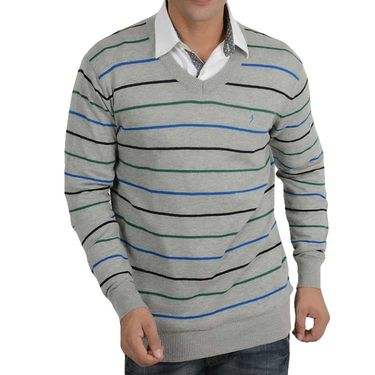 Branded Regular Fit Cotton Sweater_Os06 - Grey