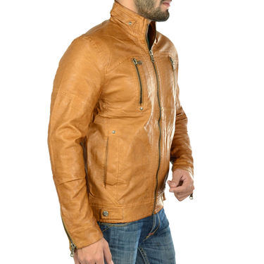 Branded Regular Fit Leather Jacket_Os18 - Light Brown