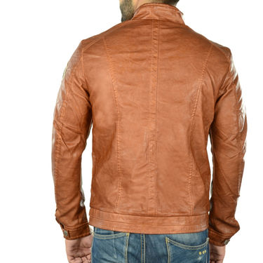 Branded Regular Fit Leather Jacket_Os20 - Brown