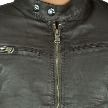 Branded Regular Fit Leather Jacket_Os21 - Brown