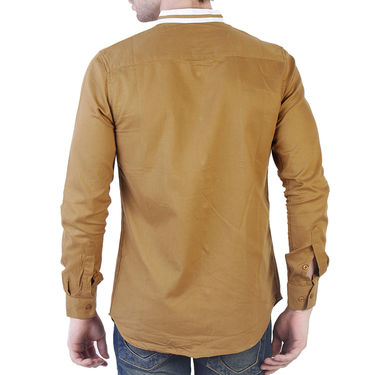 Branded Slim Fit Cotton Shirt_Os37 - Mustard