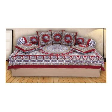 Combo of Jaipuri Print 100% Cotton 1 Diwan Set and 1 Double Bedsheet With Two Pillow Covers-PF116D1BS1D