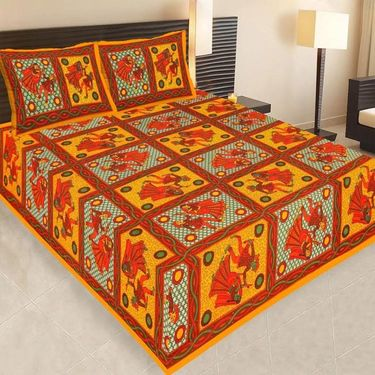 Set of 4 Jaipuri Cotton king size  Double Bedsheets With 8 Pillow Covers-PF12D4BWP