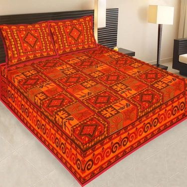 Set of 4 Jaipuri Cotton king size  Double Bedsheets With 8 Pillow Covers-PF13D4BWP