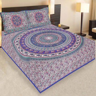 Set of 5 Jaipuri Cotton Sanganeri Printed  Double Bedsheets With 10 Pillow Covers-PF4D5BWP