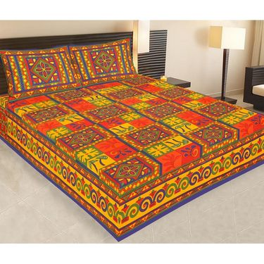 Set of 5 Jaipuri Cotton king size  Double Bedsheets With 10 Pillow Covers-PF7D5BWP