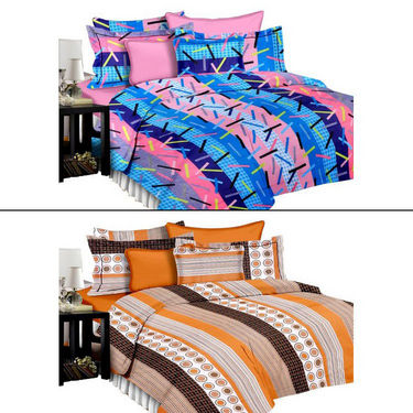 Set of 2 PARAS FASHIONS Cotton Printed Double Bed sheets With 4 Pillow covers-PFJDBCOM2009