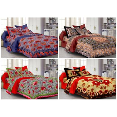 100% Cotton Multicolor Design Set of 4 Double Bedsheet with 8 Pillow Covers -PL1111_14_15_22