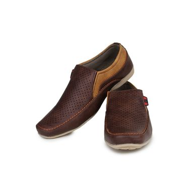 Pede Milan Synthetic Leather Brown Casual Shoes -pde54