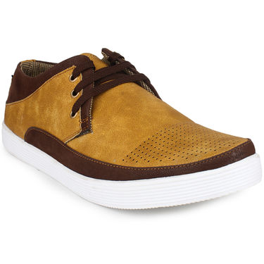 Pede Milan Synthetic Leather Tan Casual Shoes -pde42