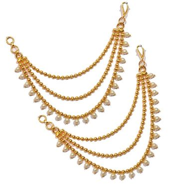 Pourni Stylish Brass Ear Chain_Prerchain02 - Golden