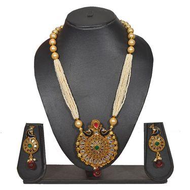 Pourni Stylish Brass Necklace Set_PRNK134 - Golden