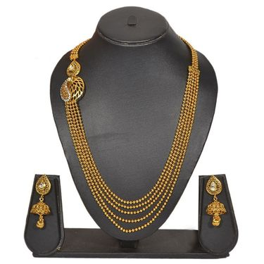 Pourni Stylish Brass Necklace Set_Prnk72 - Golden