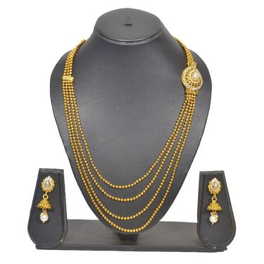 Pourni Stylish Brass Necklace Set_Prnk90 - Golden
