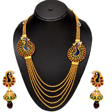 Pourni Plated Peacock Necklace Set - Yellow - SD540