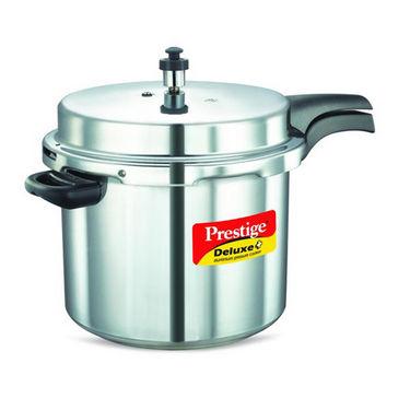 Prestige Deluxe Plus Aluminium Pressure Cooker 10 Ltr (Induction Based) - Silver