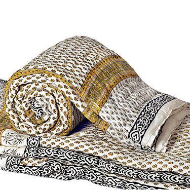 Little India Designer Printed Cotton Sanganeri Print Single Bed AC Quilt - White