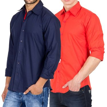 Pack of 2 Incynk Plain Cotton Shirt_qsc54 - Orange & Navy Blue