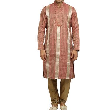 Runako Silk Full Sleeves Kurta Pyjama_RK4062 - Salmon