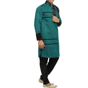 Runako Silk Full Sleeves Kurta Pyjama_RK4067 - Sea Green