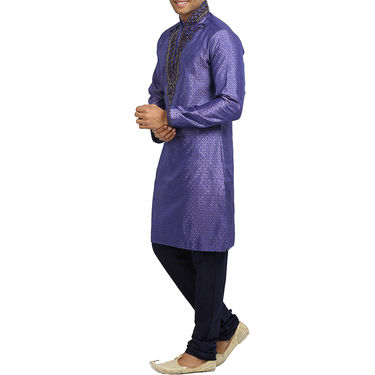 Runako Silk Full Sleeves Kurta Pyjama_RK4079 - Dark Purple