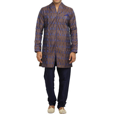 Runako Silk Full Sleeves Kurta Pyjama_RK4080 - Chocolate & Blue