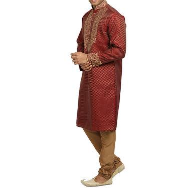 Runako Silk Full Sleeves Kurta Pyjama_RK4086 - Rust