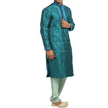 Runako Silk Full Sleeves Kurta Pyjama_RK4090 - Blue