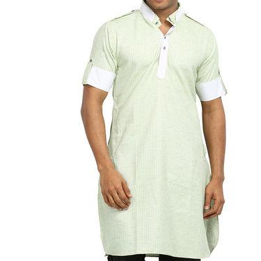 Runako Regular Fit Printed Party Wear Pathani Kurta For Men_RK4111 - Green