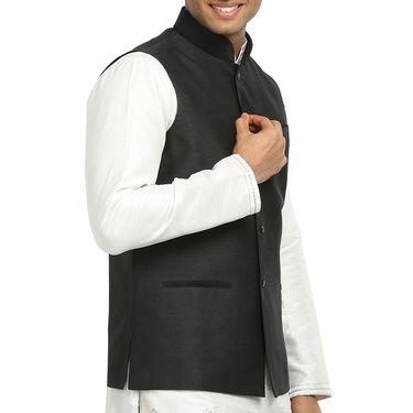 Runako Silk Sleeveless Nehru Jacket_RK4124 - Black