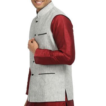 Runako Linen Sleeveless Nehru Jacket_RK4127 - Grey