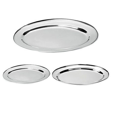 Combo Of Detak 3 Pcs Oval Tray Set & 12 Pcs Stainless Steel Icecream Set