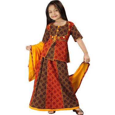 Little India Rajasthani Bandhej Multicolour Lehanga Choli - DLI3GED107B