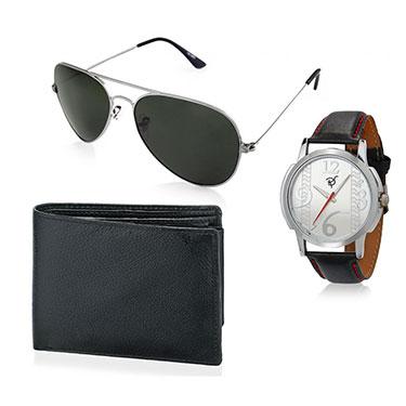 Combo of Rico Sordi Analog Wrist Watch + Sunglasses + Wallet_12398219