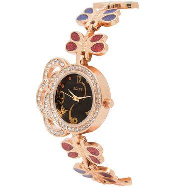Adine Analog Round Dial Wrist Watch For Women_Rsw12 - Black