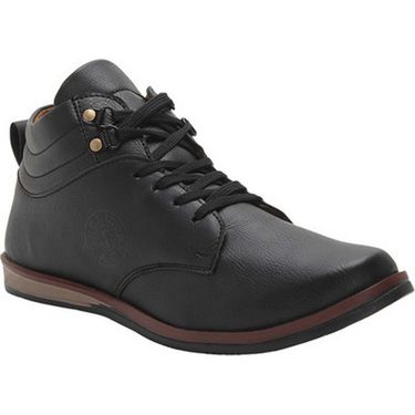 Branded Synthetic Leather Casual   Shoes Scomc312 -Black