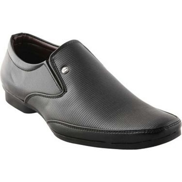 Branded Synthetic Leather Formal  Shoes Scomf343 -Black