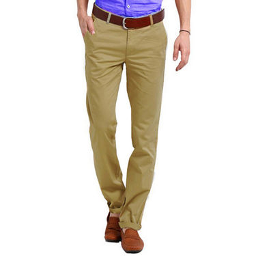 Perfect Plain Slim Fit Cotton Chinos For Men_skc6010 - Brown